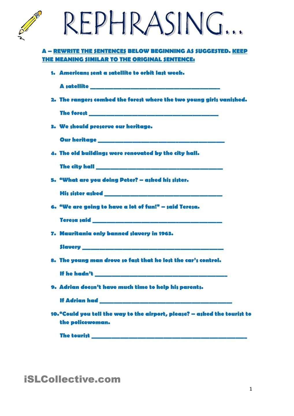 Paraphrasing Worksheets Elementary Rephrasing