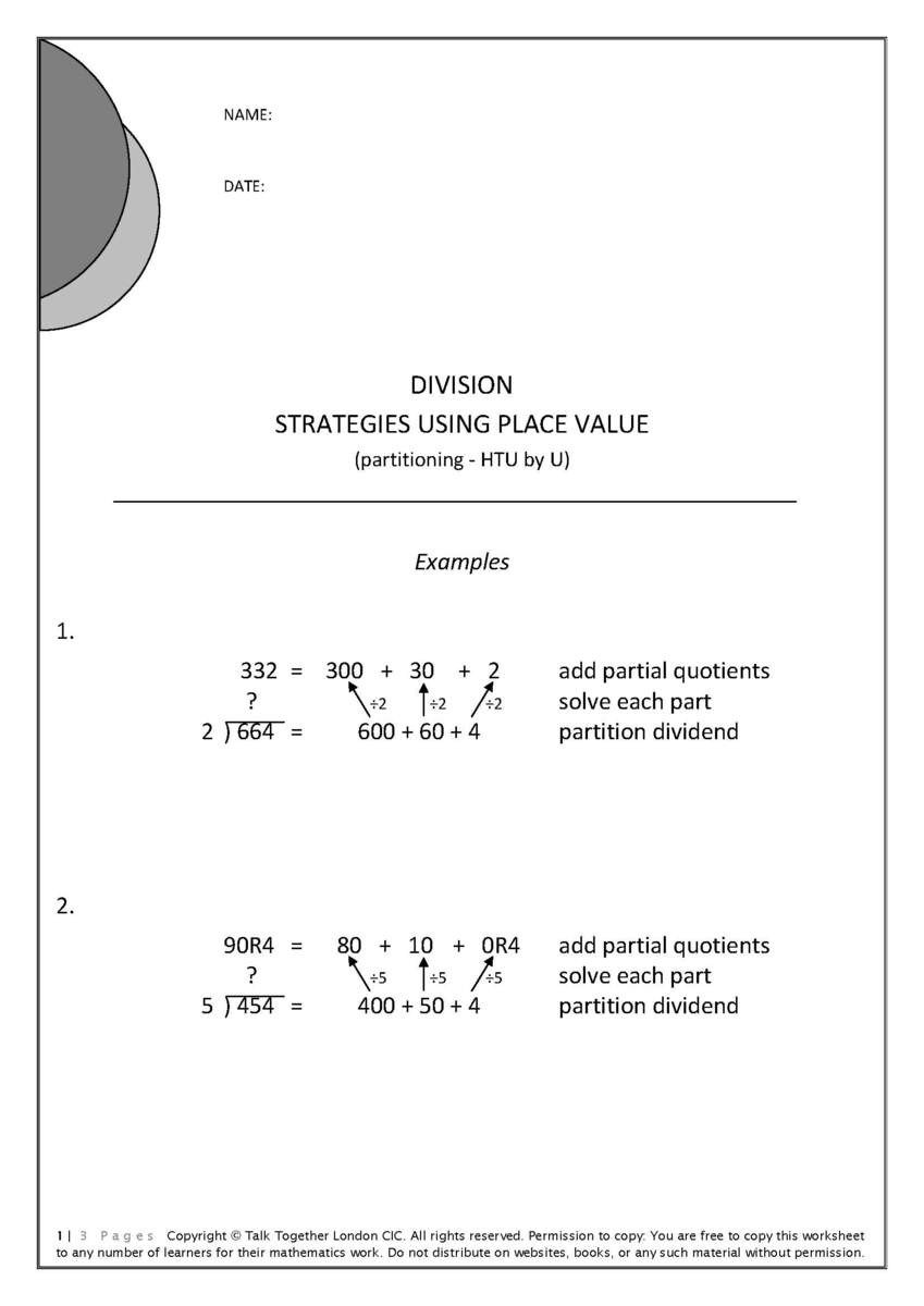 Partial Quotients Worksheet Division for Beginners 2 Ages 8 to 12