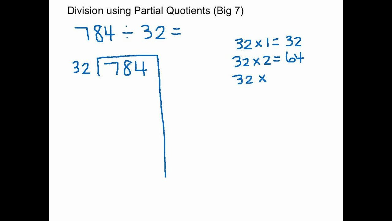 Partial Quotients Worksheet Division Using Partial Quotients Big 7