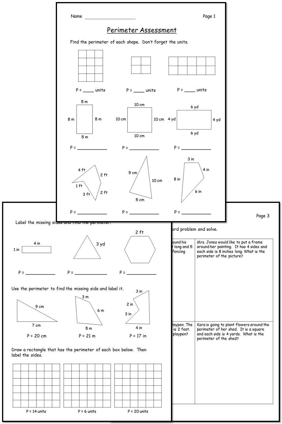 Perimeter Worksheets 3rd Grade Perimeter assessment In 2020