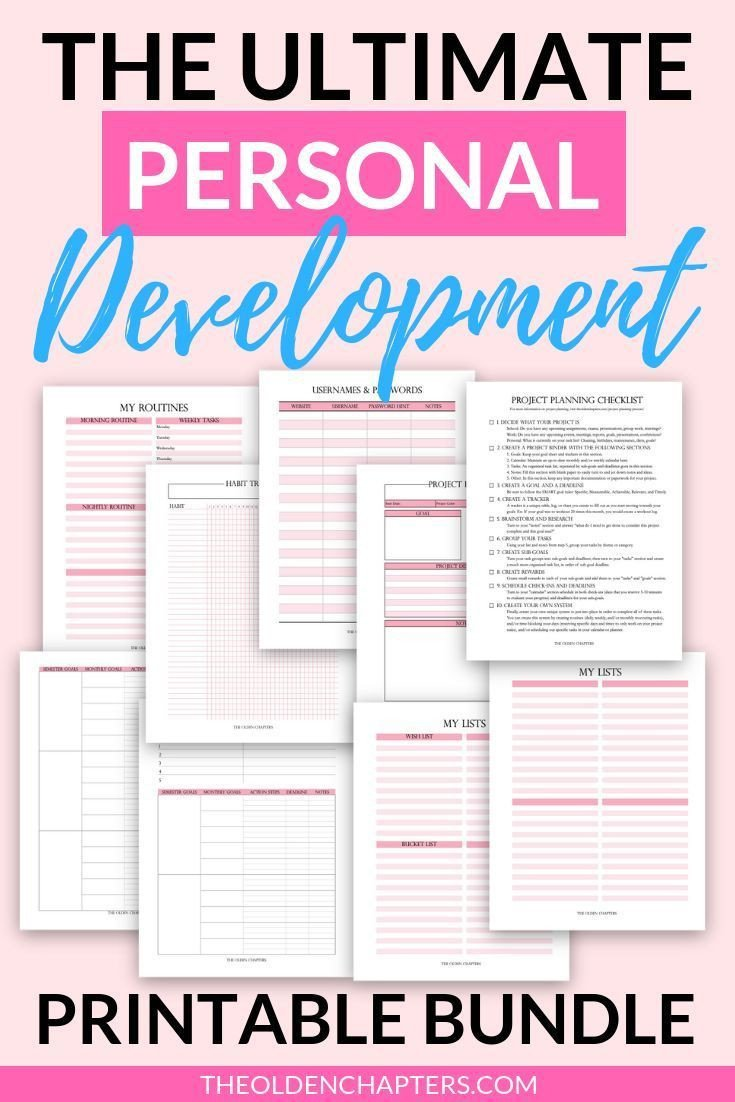 Personal Development Worksheet Personal Development Printable Bundle Goal Planner Goal