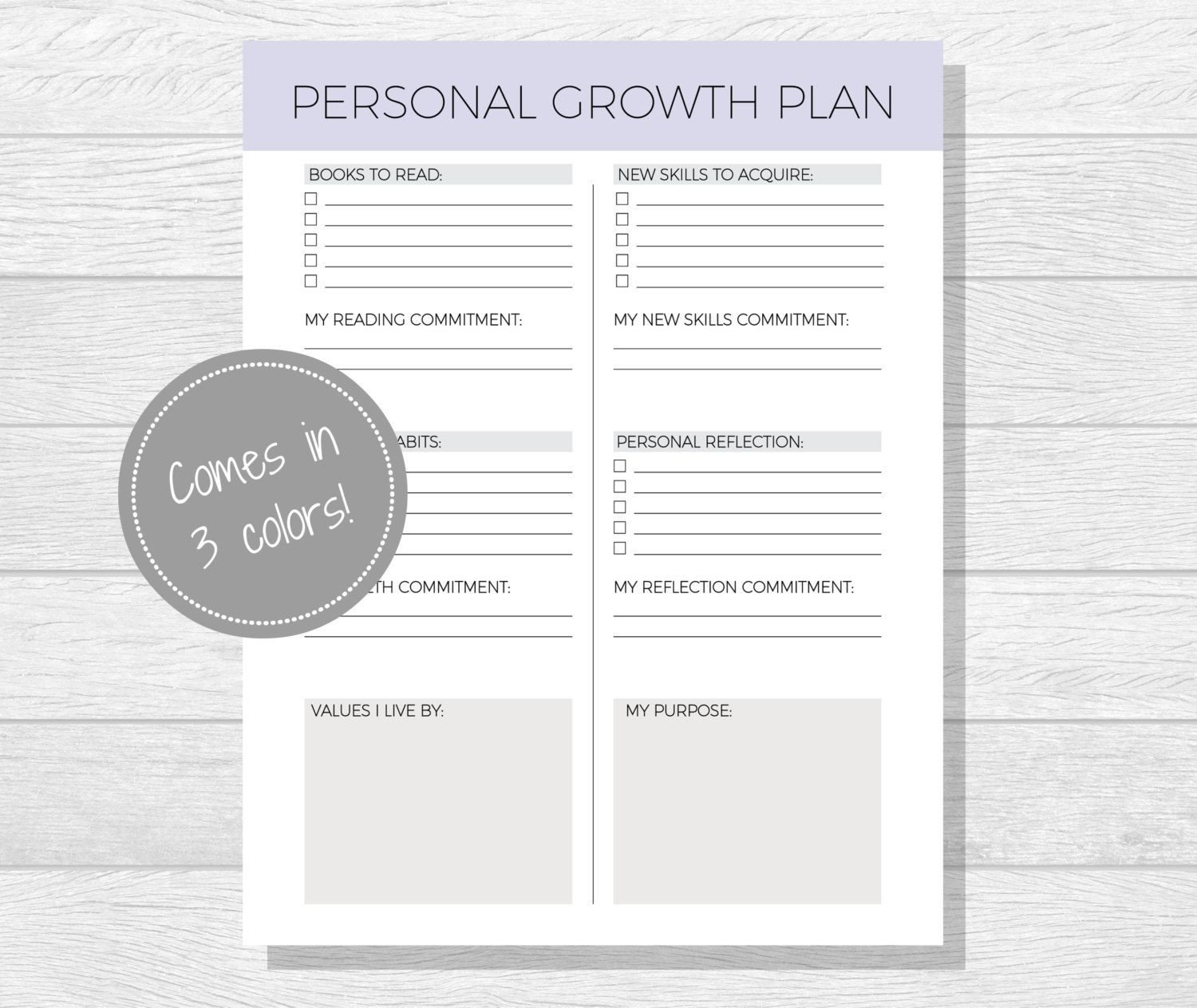 Personal Development Worksheet Personal Growth Plan Printable Personal Development Goal