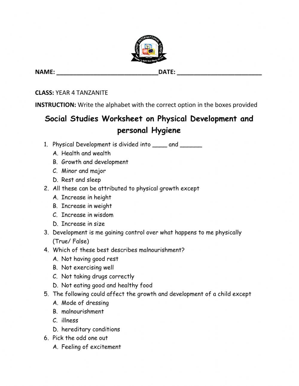 Personal Development Worksheet Personal Hygiene and Physical Development Worksheet