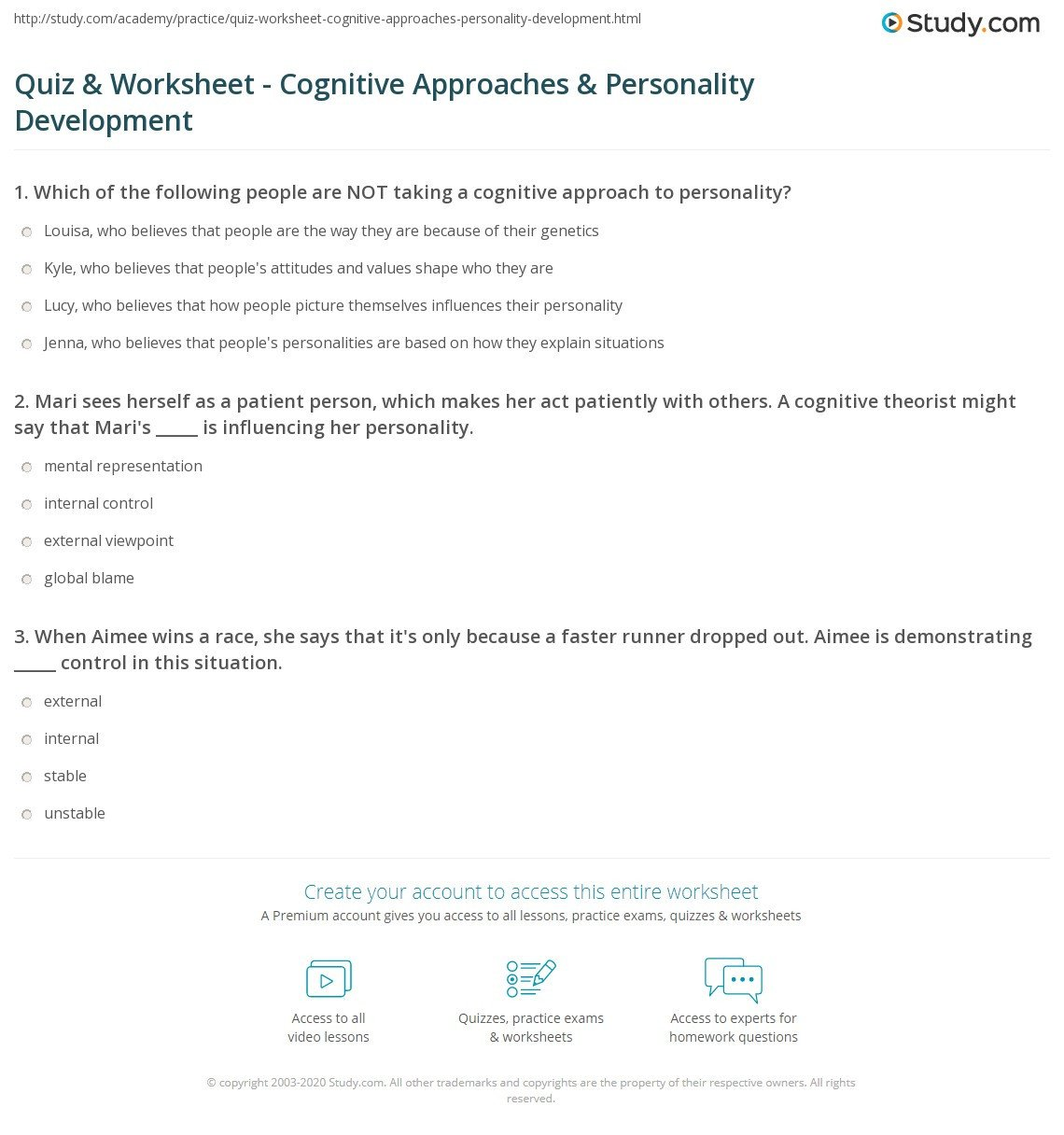 Personal Development Worksheet Quiz & Worksheet Cognitive Approaches & Personality