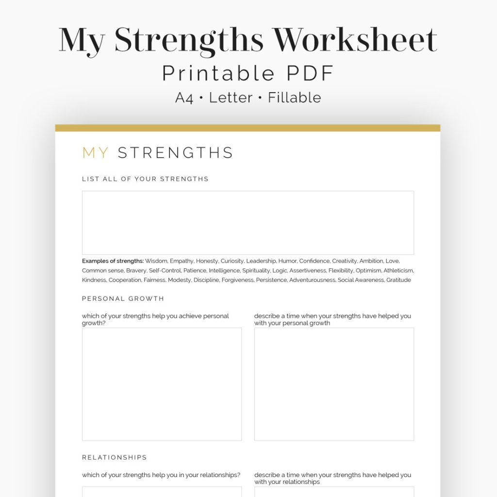 Personal Development Worksheets My Strengths Worksheet