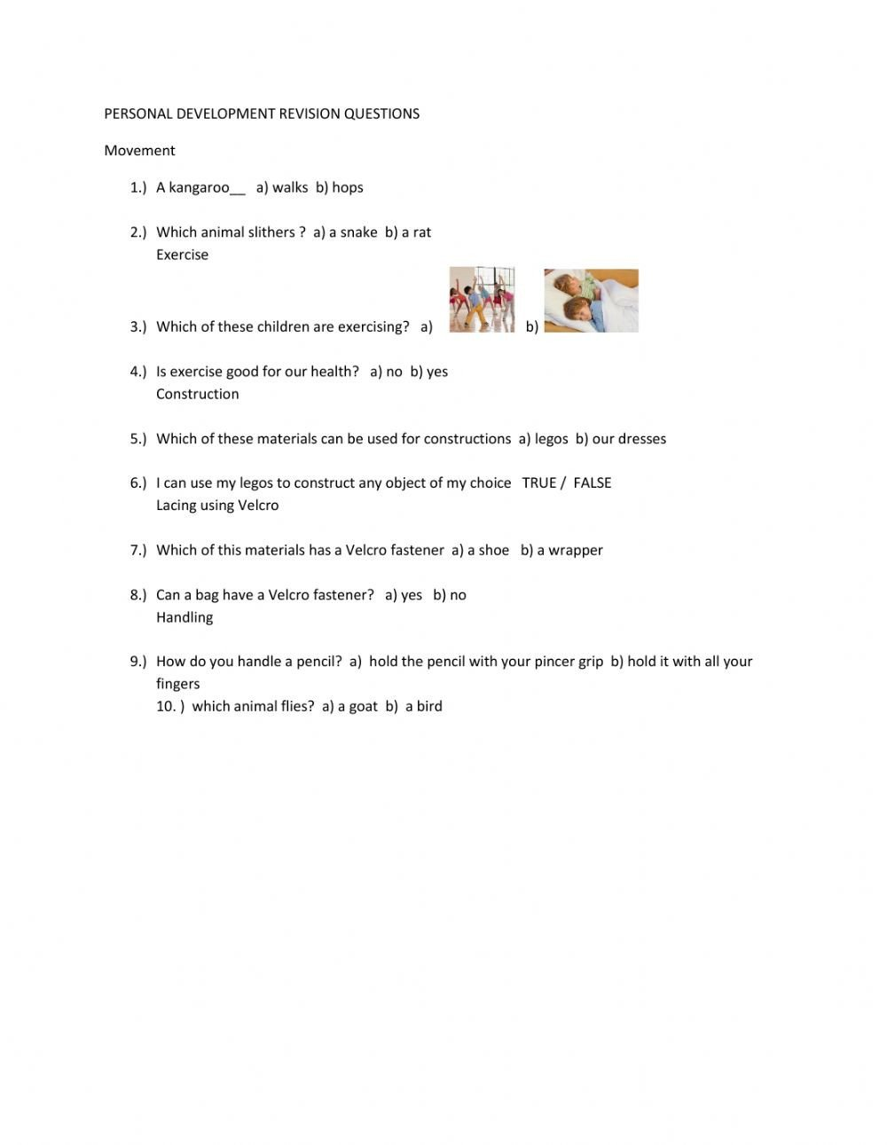 Personal Development Worksheets Personal Development Revision Questions Interactive Worksheet