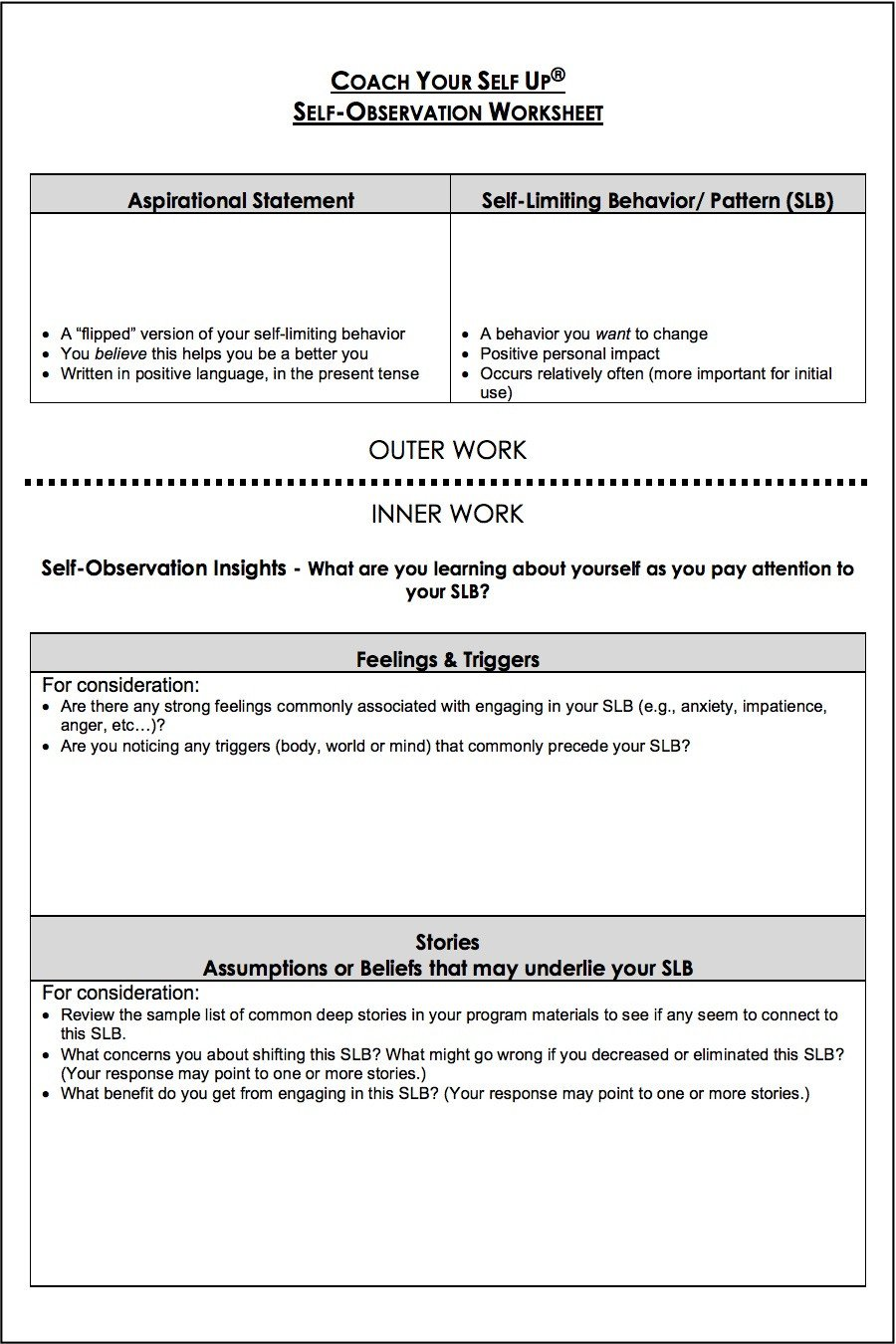 Personal Development Worksheets Self Observation Worksheet – A tool for Your Personal Growth