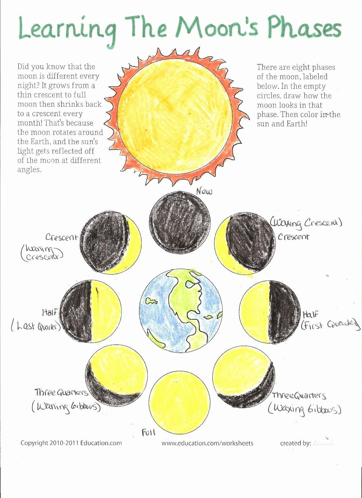 Phases Of the Moon Worksheet 50 Moon Phases Worksheet Pdf In 2020