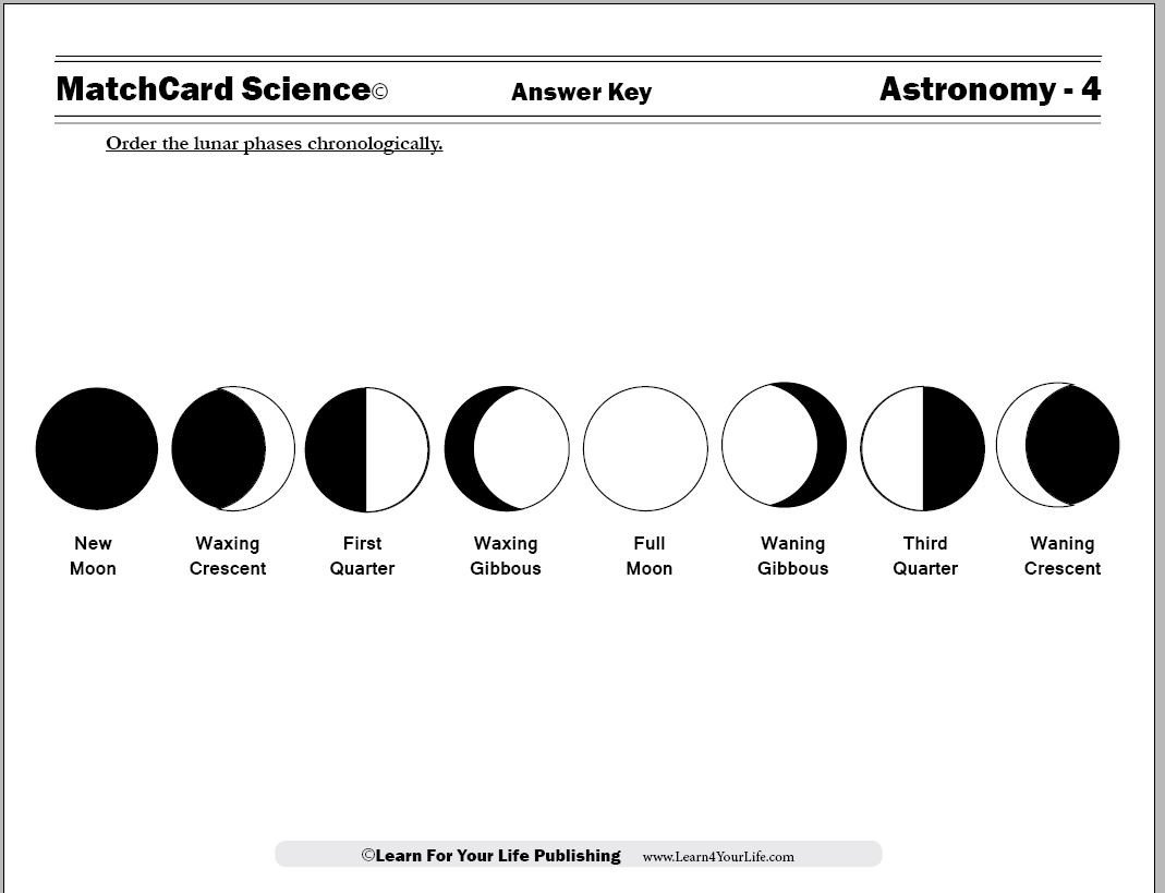 Phases Of the Moon Worksheet Moon Cycle