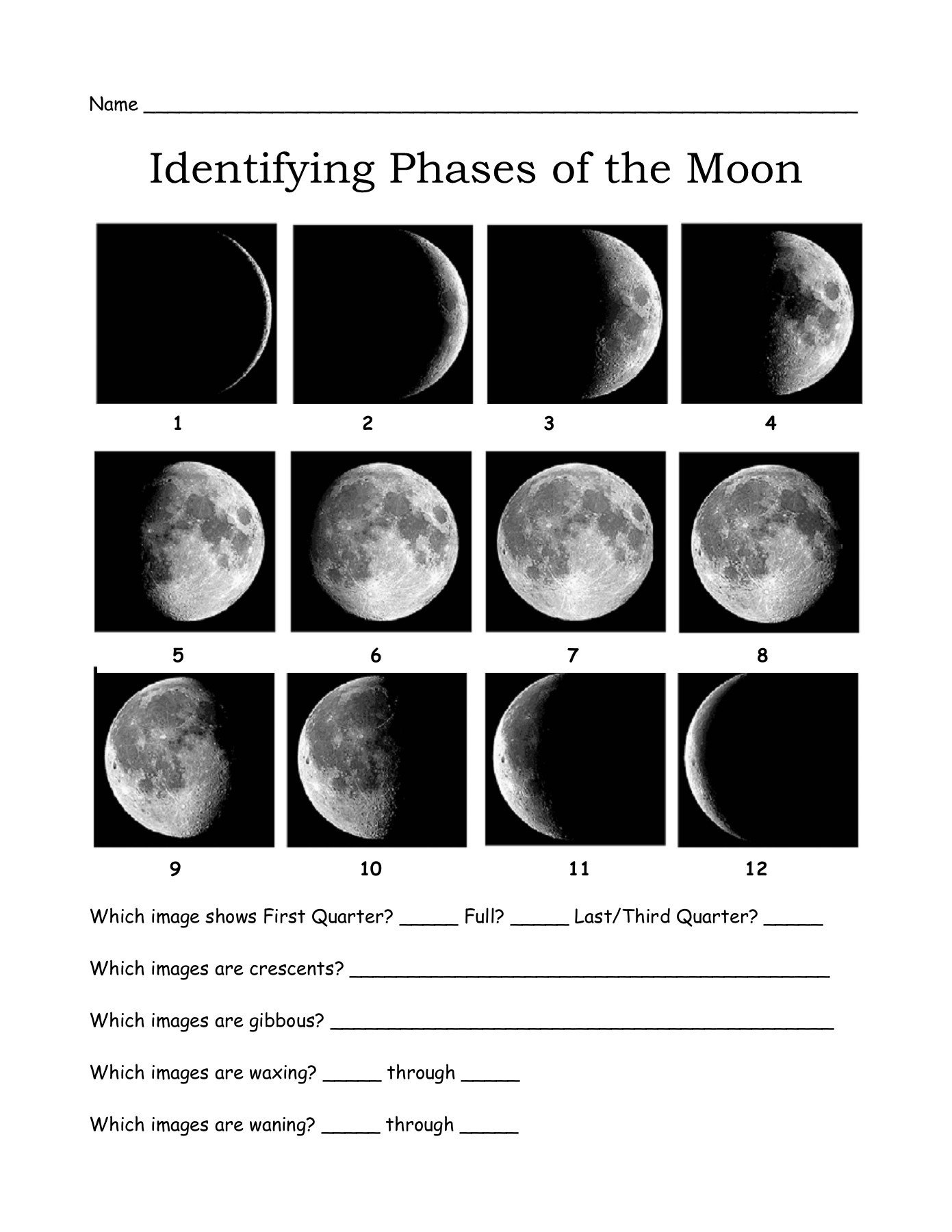 Phases Of the Moon Worksheet Name Identifying Phases Of the Moon Mrscienceut Pages