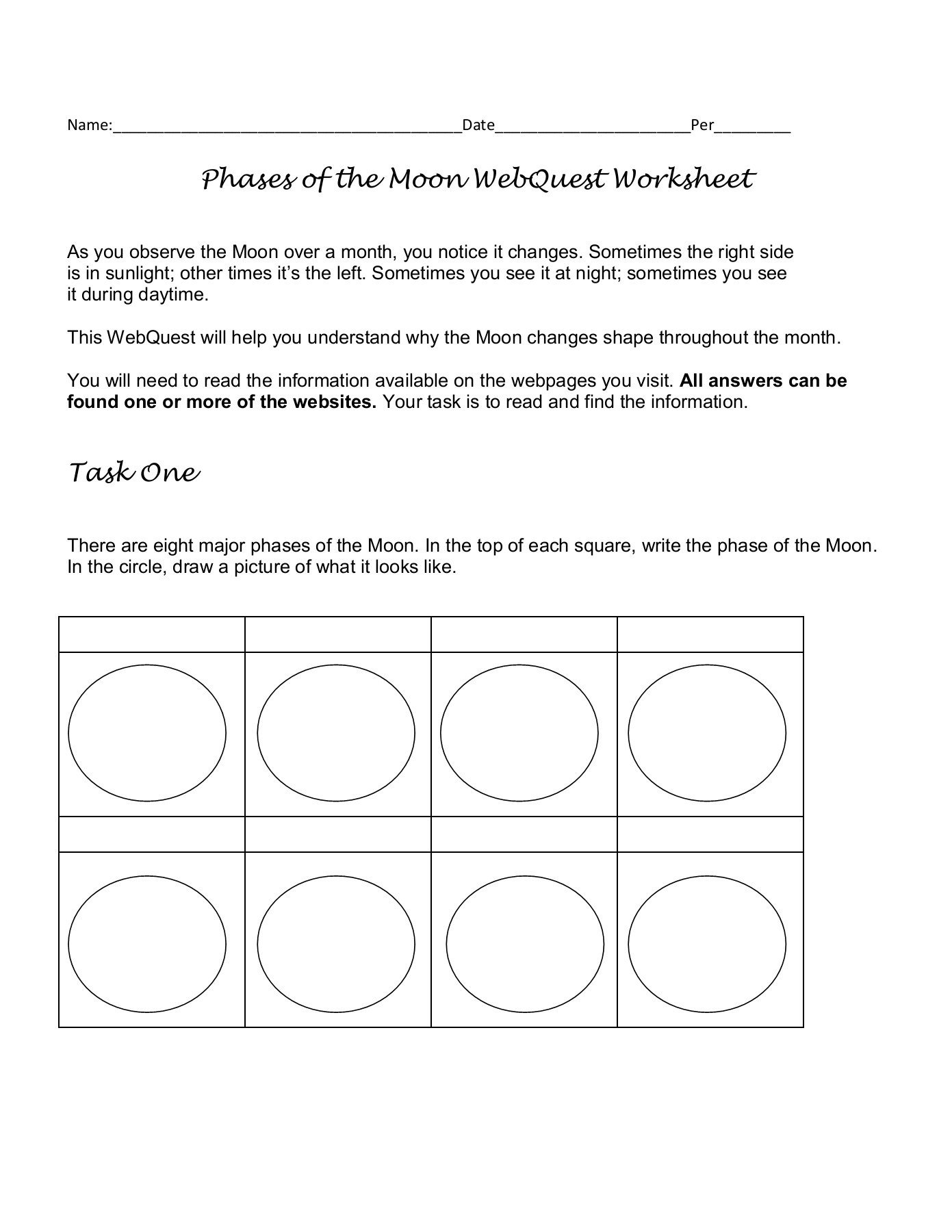 Phases Of the Moon Worksheet Phases Of the Moon Webquest Worksheet Cusd80 Pages 1