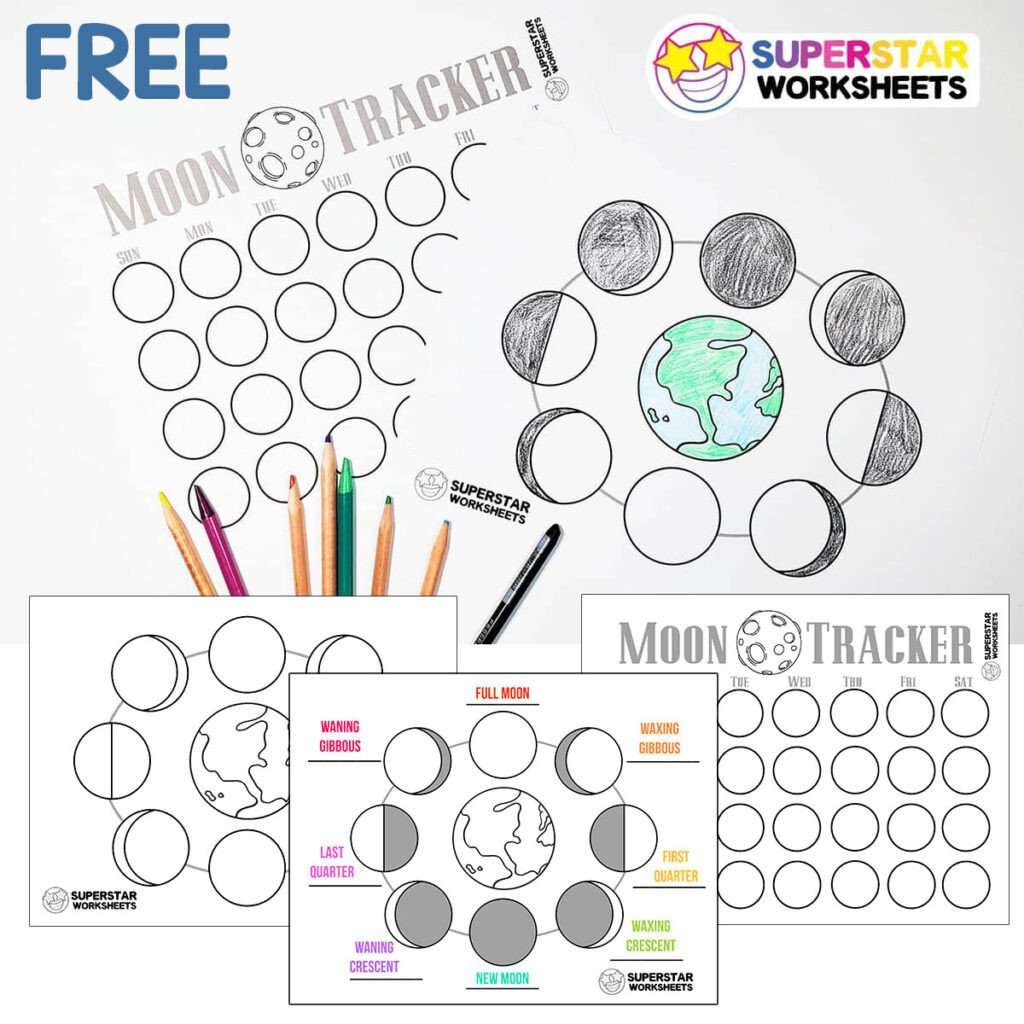 Phases Of the Moon Worksheet Phases Of the Moon Worksheets Superstar Worksheets