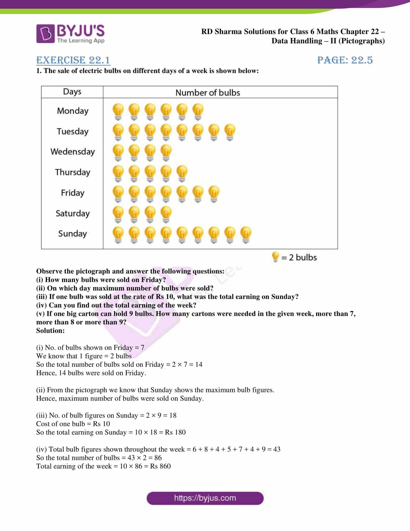 Pictograph Worksheets Pdf Rd Sharma solutions for Class 6 Chapter 22 Data Handling