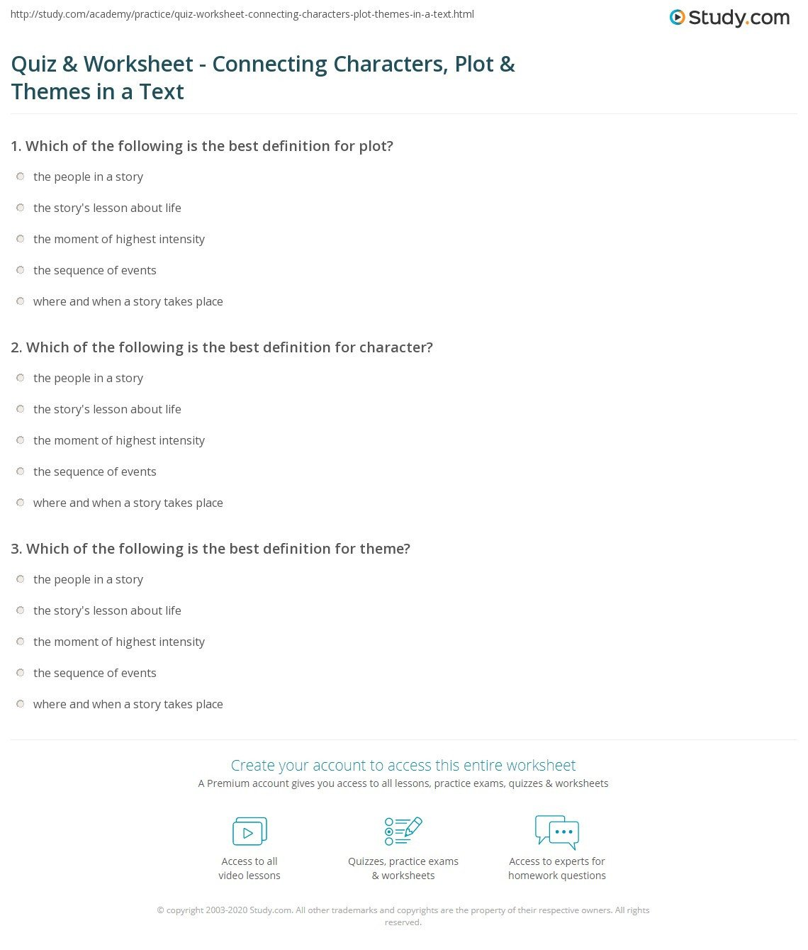 Plot and theme Worksheets Quiz & Worksheet Connecting Characters Plot & themes In A