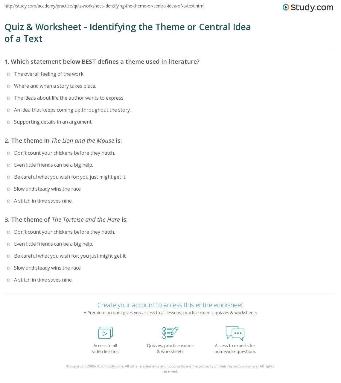 Plot and theme Worksheets Quiz & Worksheet Identifying the theme or Central Idea Of