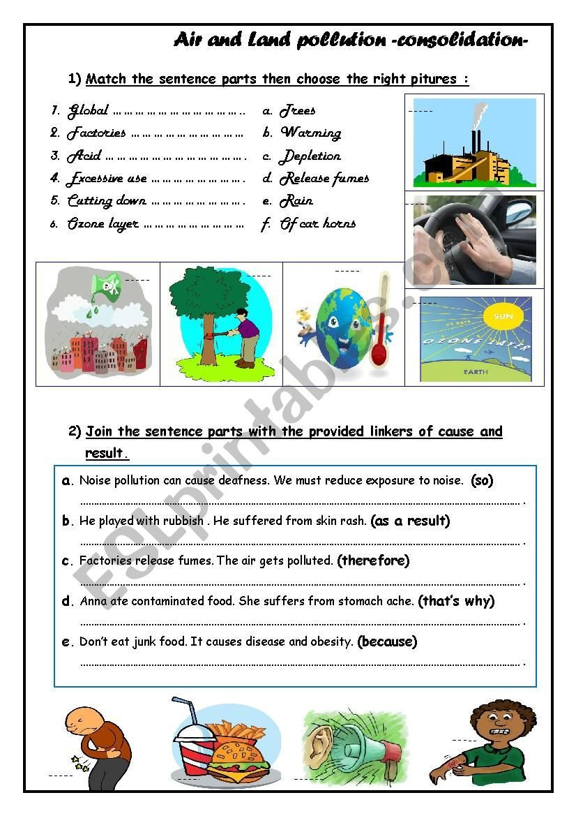Pollution Worksheets Pdf Air and Land Pollution Esl Worksheet by Walidchok