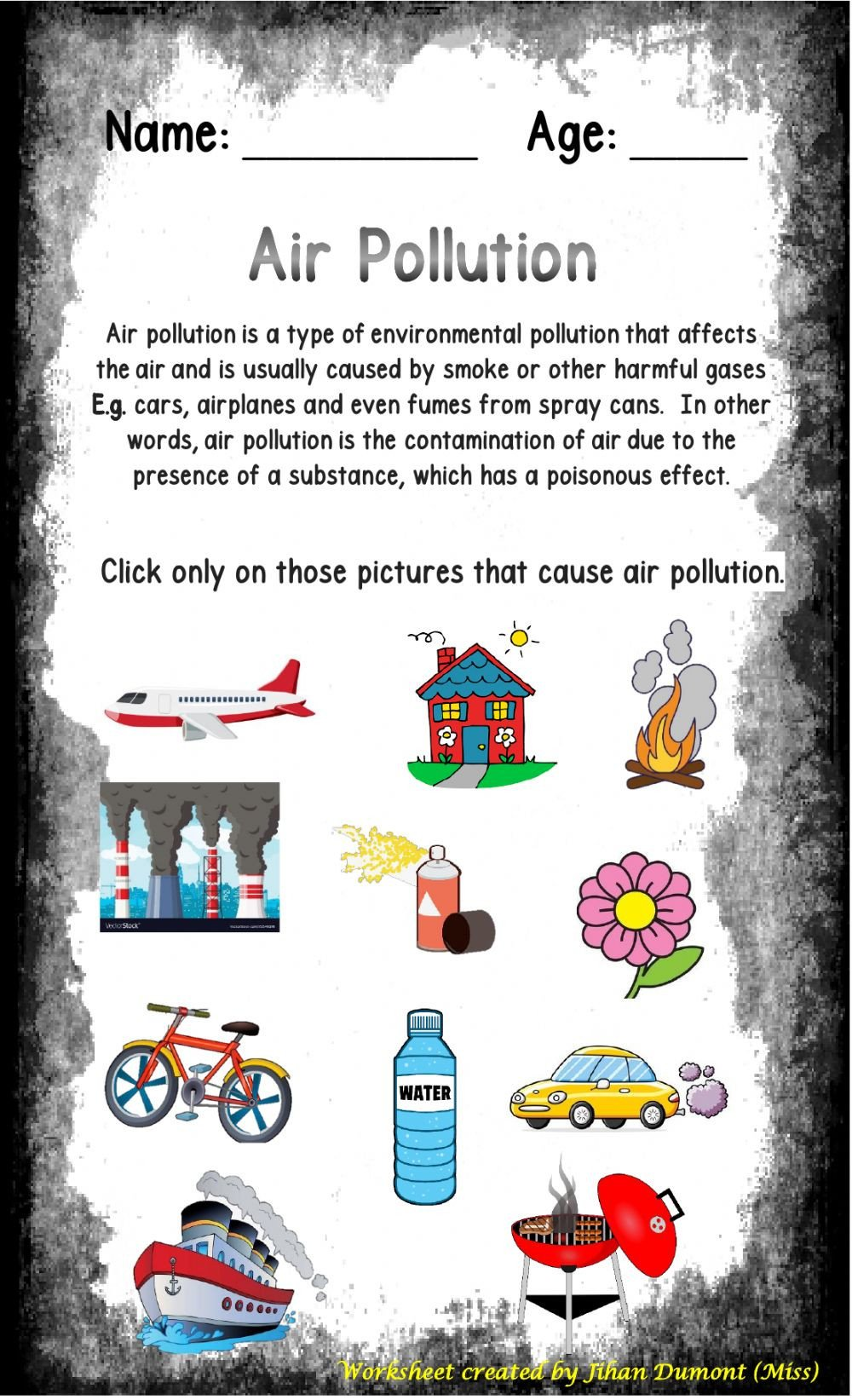 Pollution Worksheets Pdf Air Pollution Interactive Worksheet