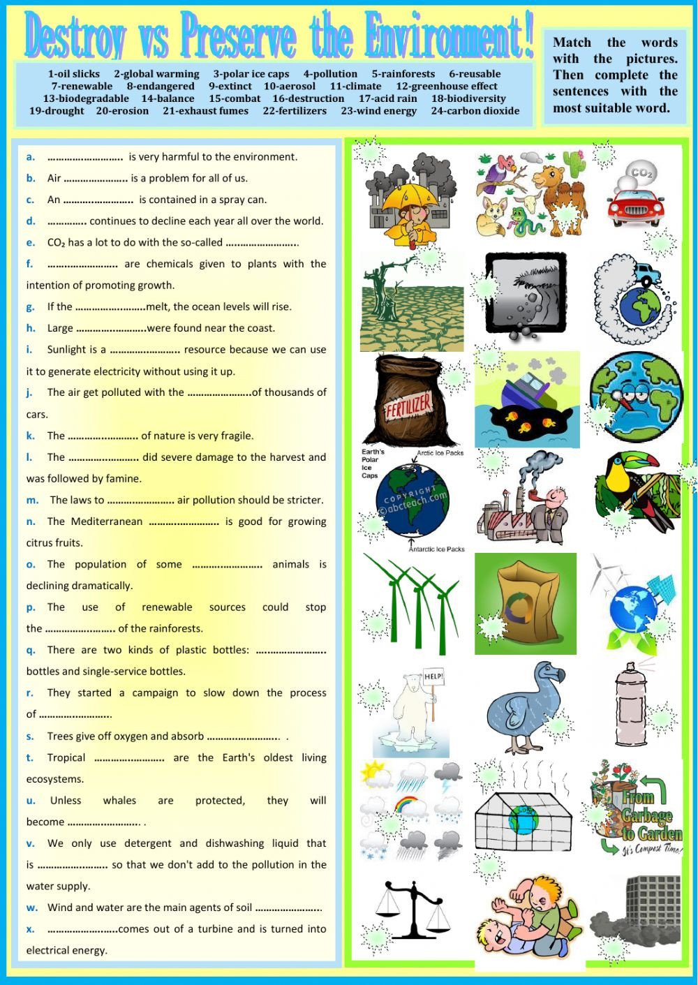 Pollution Worksheets Pdf Destroy Vs Preserve the Environment Interactive Worksheet