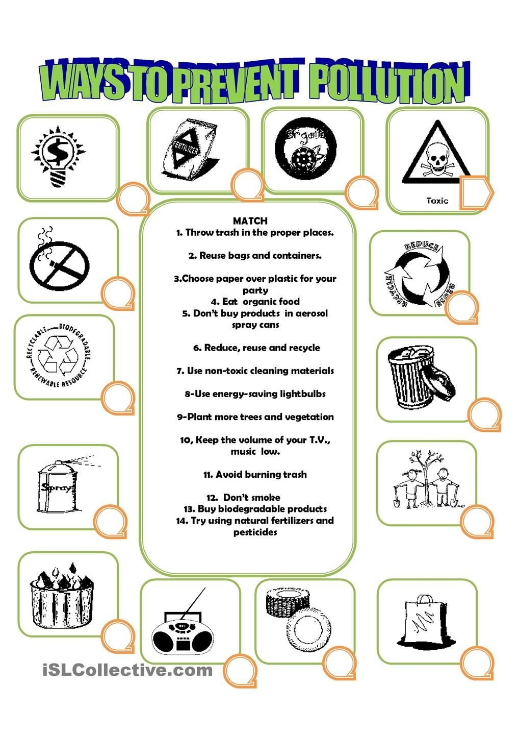 Pollution Worksheets Pdf How to Prevent Pollution