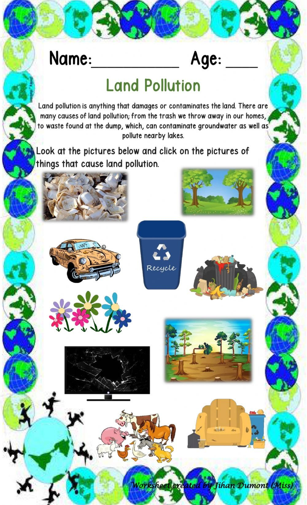 Pollution Worksheets Pdf Land Pollution Interactive Worksheet