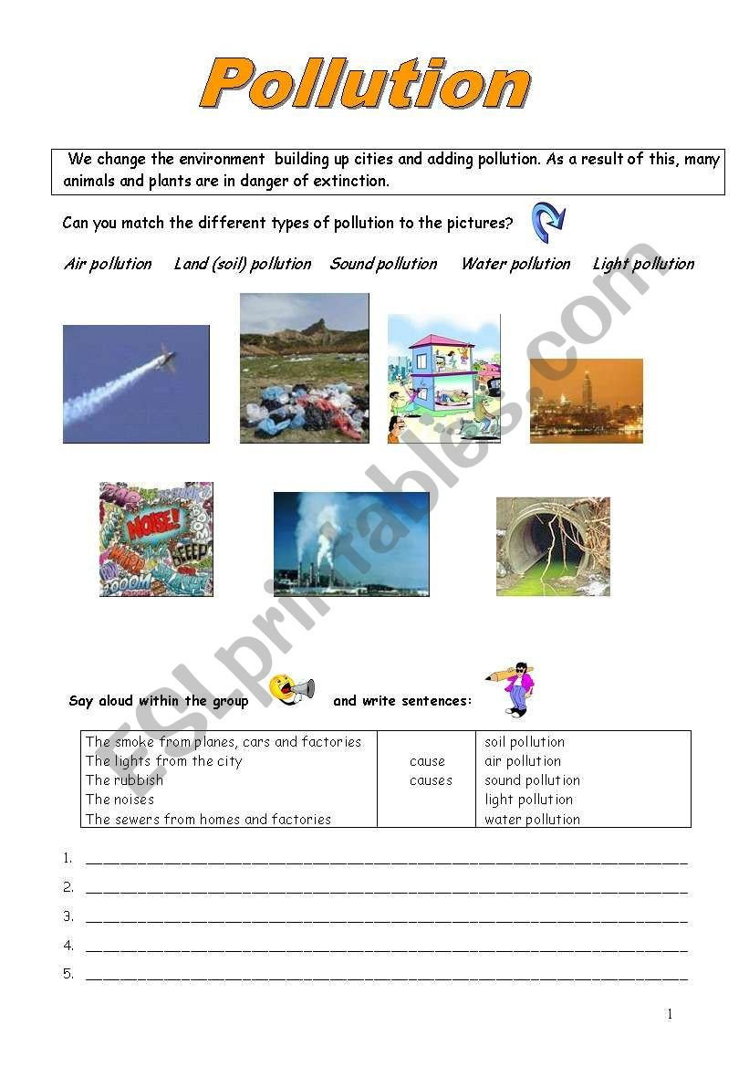 Pollution Worksheets Pdf Pollution Esl Worksheet by Rosacas