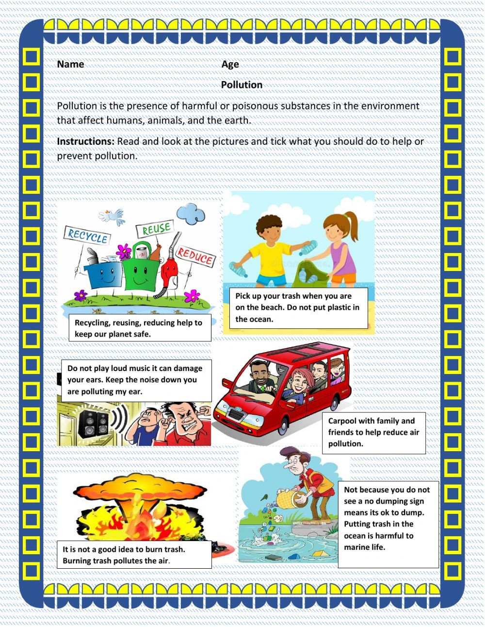 Pollution Worksheets Pdf Pollution Prevention Interactive Worksheet