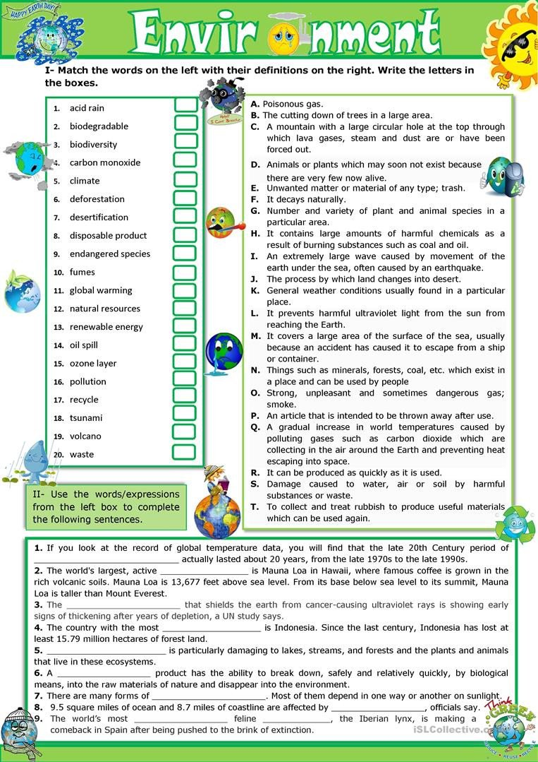 Pollution Worksheets Pdf the Environment Vocabulary Practice English Esl