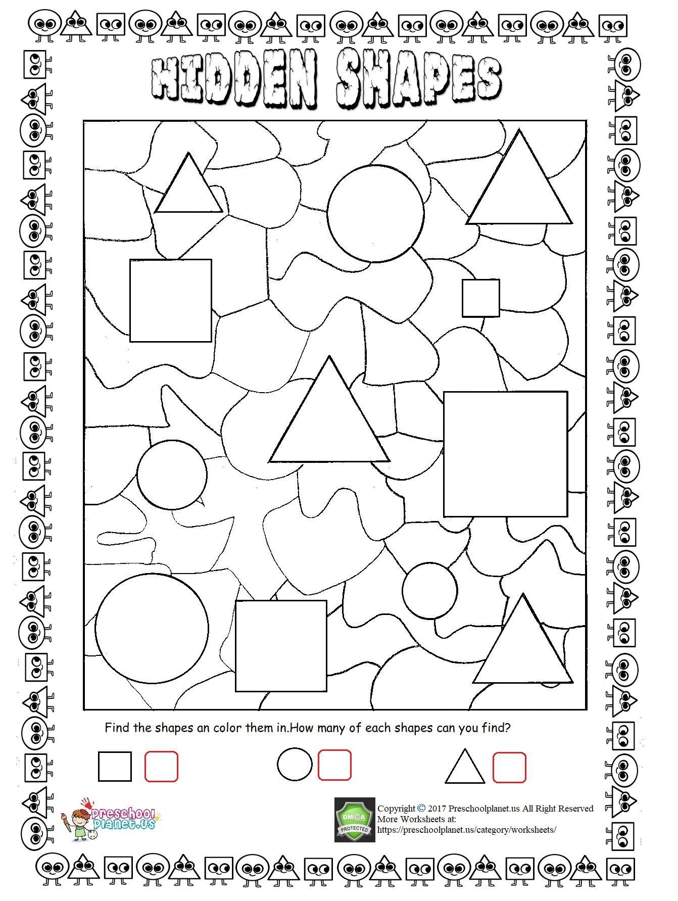 Polygon Worksheets 4th Grade Hidden Shapes Worksheet Preschoolplanet Valentine Math