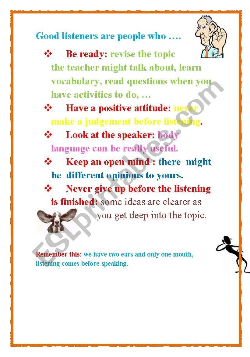 Positive attitude Activities Worksheets A Good Listener Esl Worksheet by Marbellera