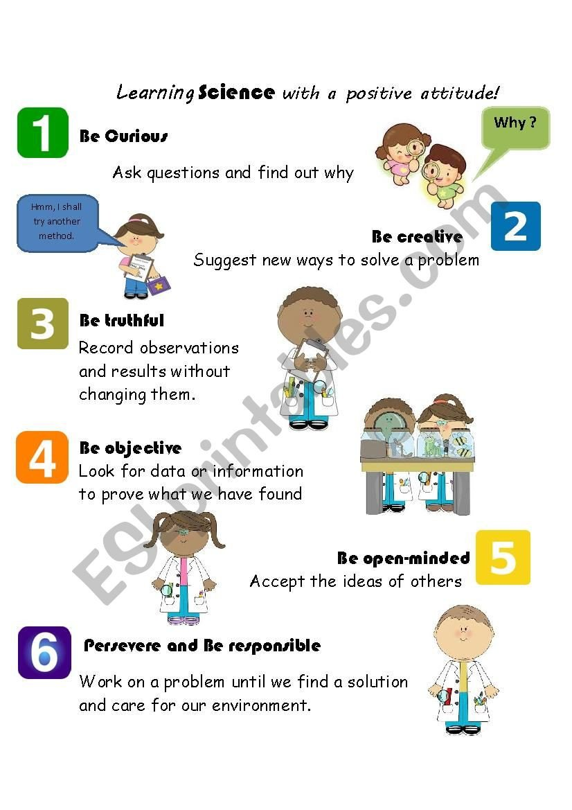 Positive attitude Activities Worksheets Learning Science with A Positive attitude Esl Worksheet by