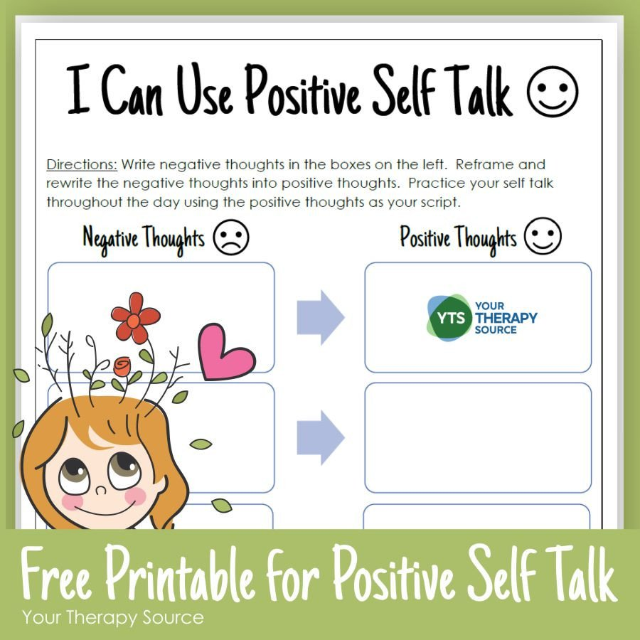 Positive attitude Activities Worksheets Positive Self Talk for Kids Your therapy source