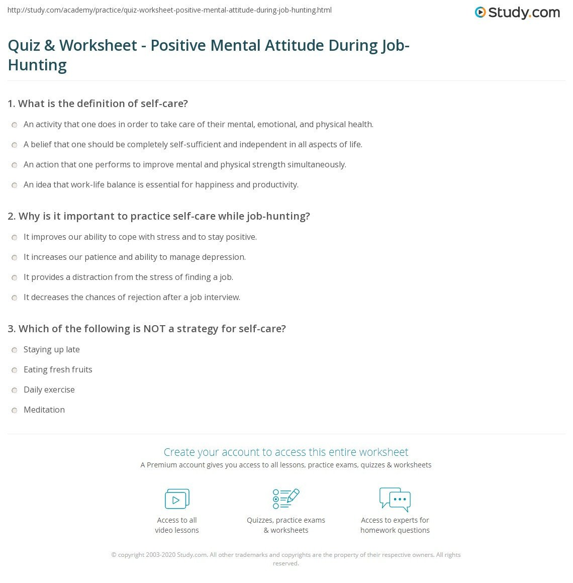 Positive attitude Activities Worksheets Quiz Worksheet Positive Mental attitude During Job Hunting