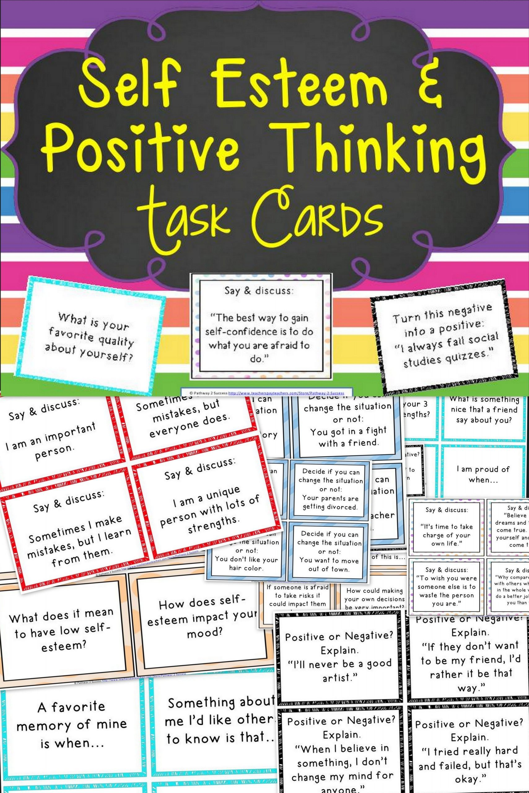 Positive attitude Activities Worksheets Self Esteem and Positive Thinking Task Cards Distance