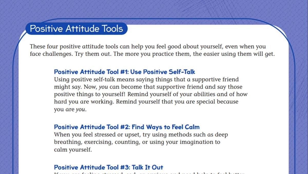 Positive attitude Activities Worksheets tools for A Positive attitude Student Worksheet Teachervision