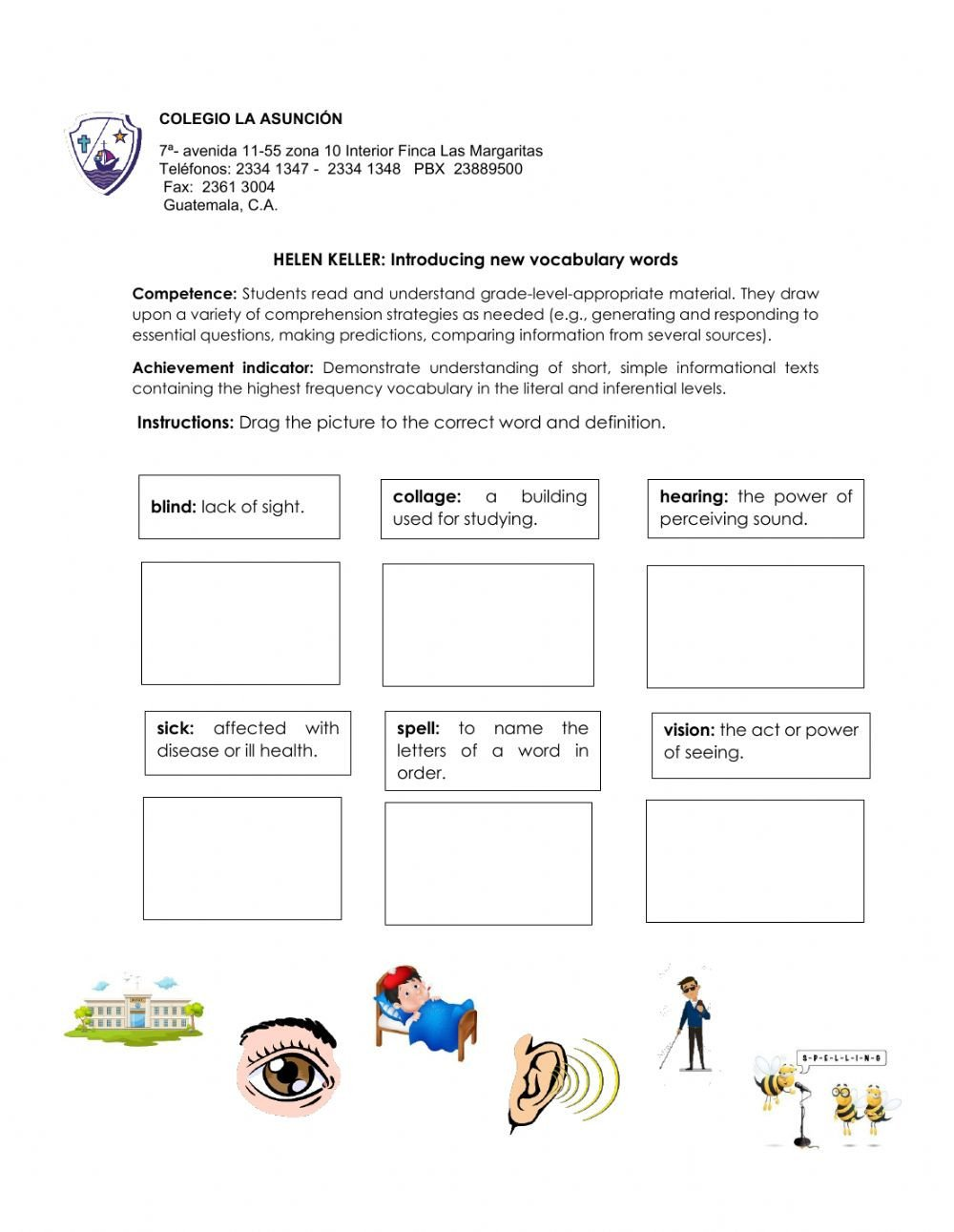 Prediction Worksheets for 3rd Grade Helen Keller Vocabulary Interactive Worksheet