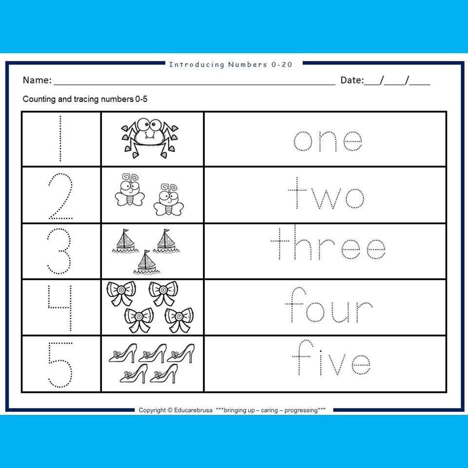 Preschool Math Worksheets Pdf Introducing Numbers 0 20