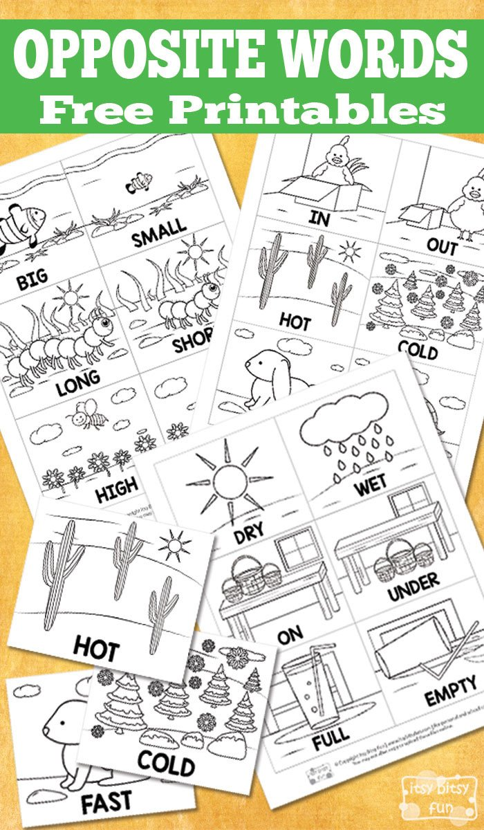 Preschool Opposites Worksheets Free Opposite Words Printables Itsybitsyfun