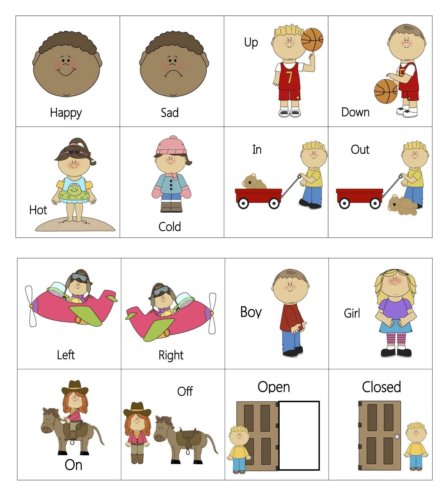 Preschool Opposites Worksheets Free Printable Everyday Opposites Flashcards