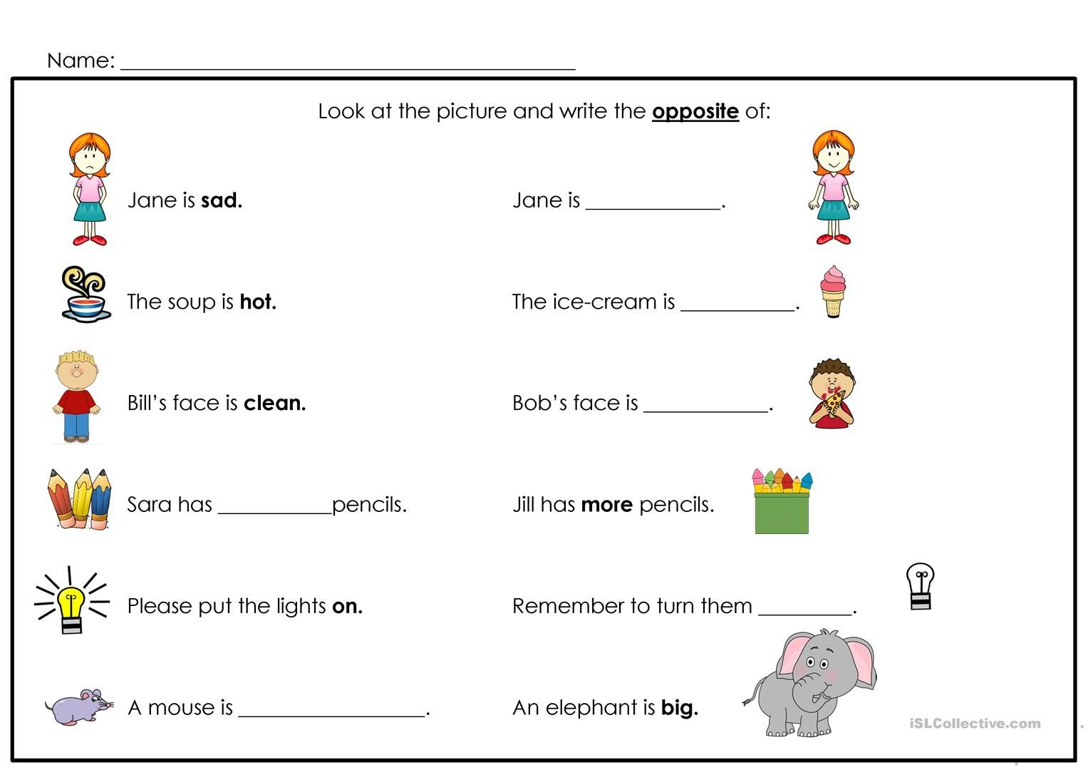 Preschool Opposites Worksheets Opposites English Esl Worksheets for Distance Learning and