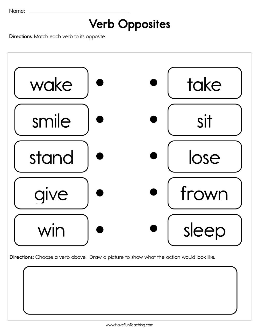 Preschool Opposites Worksheets Verb Opposites Worksheet