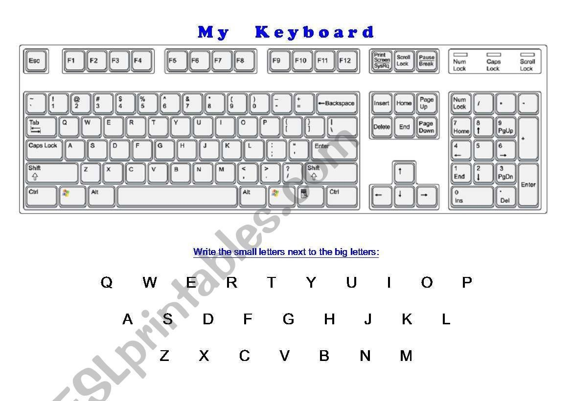 Printable Typing Worksheets Typing Keyboard Layout Worksheet