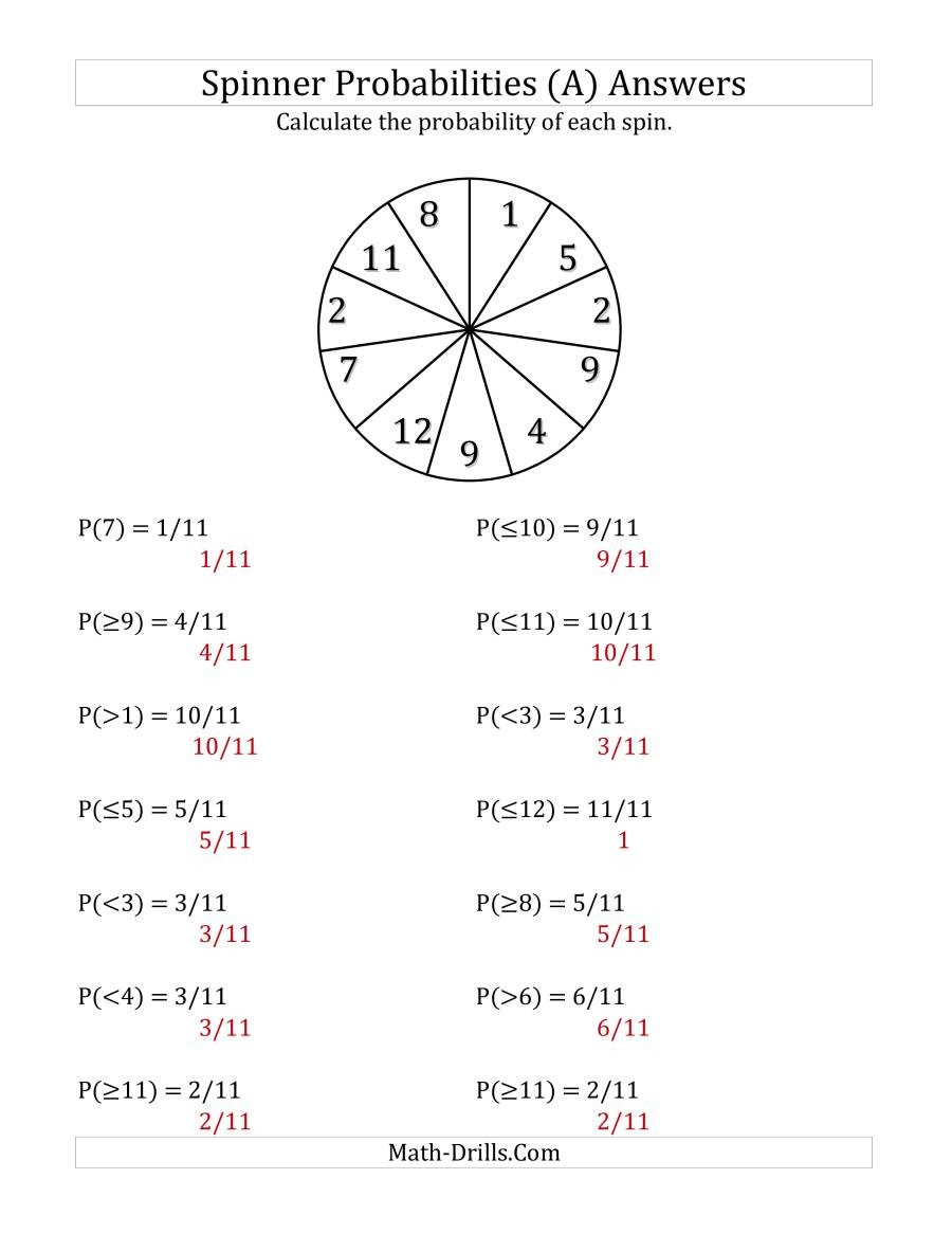 Probability Worksheet with Answers Pdf 11 Section Spinner Probabilities A