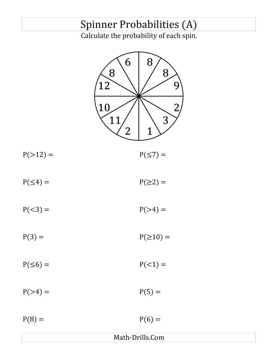 Probability Worksheet with Answers Pdf 12 Section Spinner Probabilities A