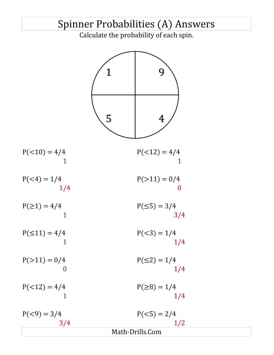 Probability Worksheet with Answers Pdf 4 Section Spinner Probabilities A
