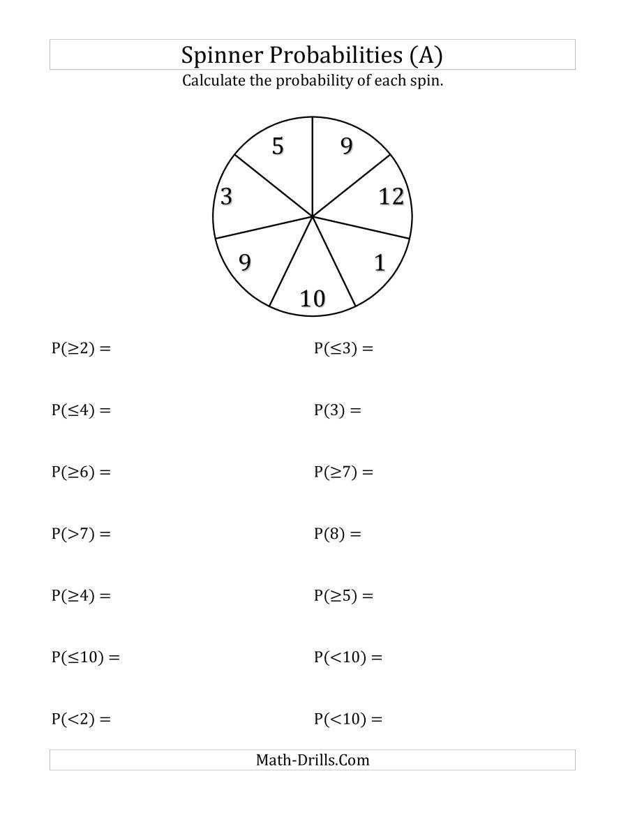 Probability Worksheet with Answers Pdf 7 Section Spinner Probabilities A