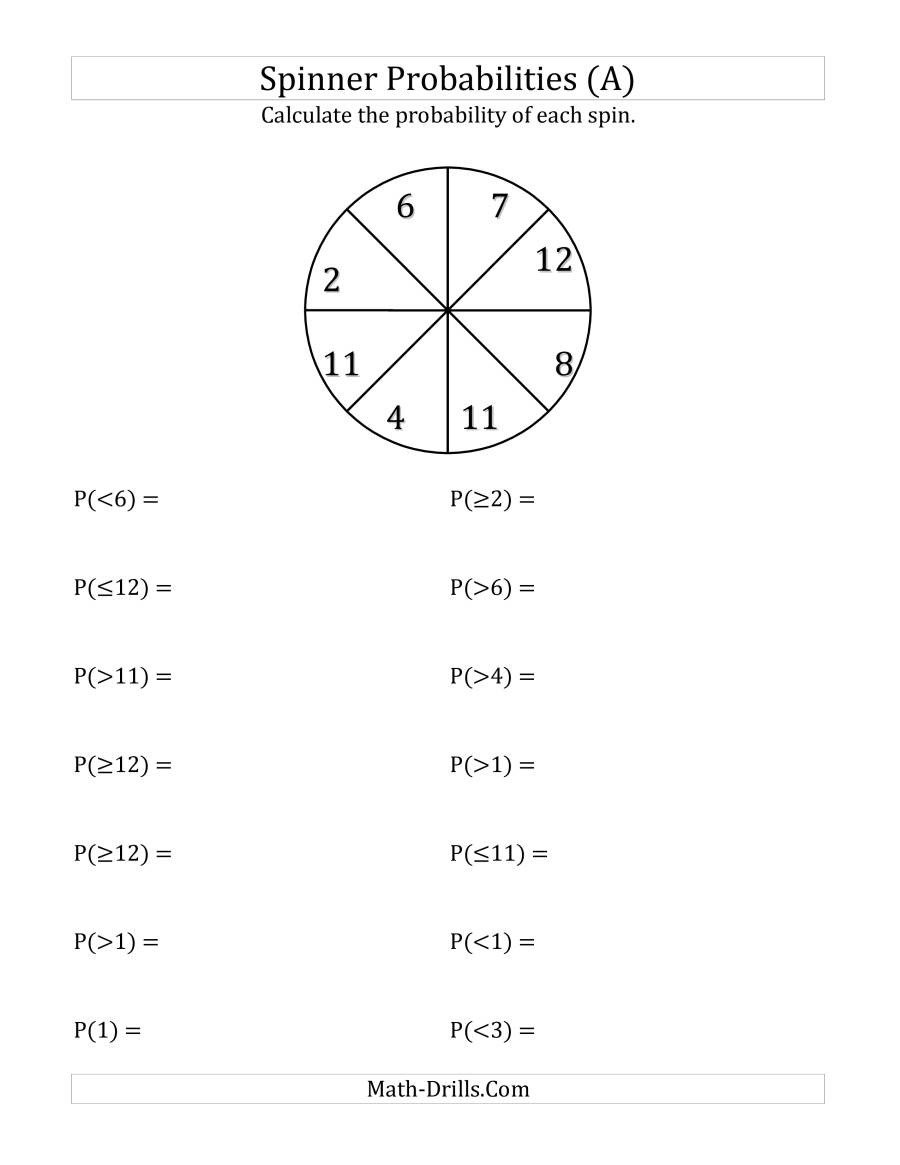 Probability Worksheet with Answers Pdf 8 Section Spinner Probabilities A