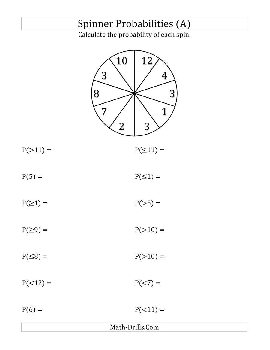 Probability Worksheets 7th Grade Pdf 10 Section Spinner Probabilities A
