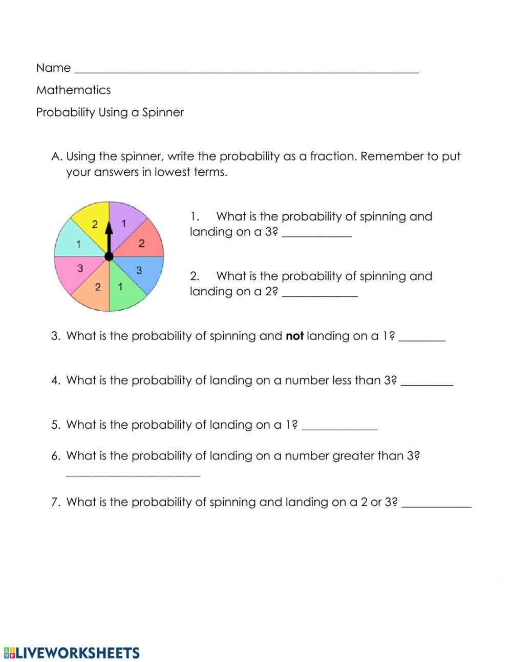 Probability Worksheets with Answers Pdf Probability as A Fraction Interactive Worksheet