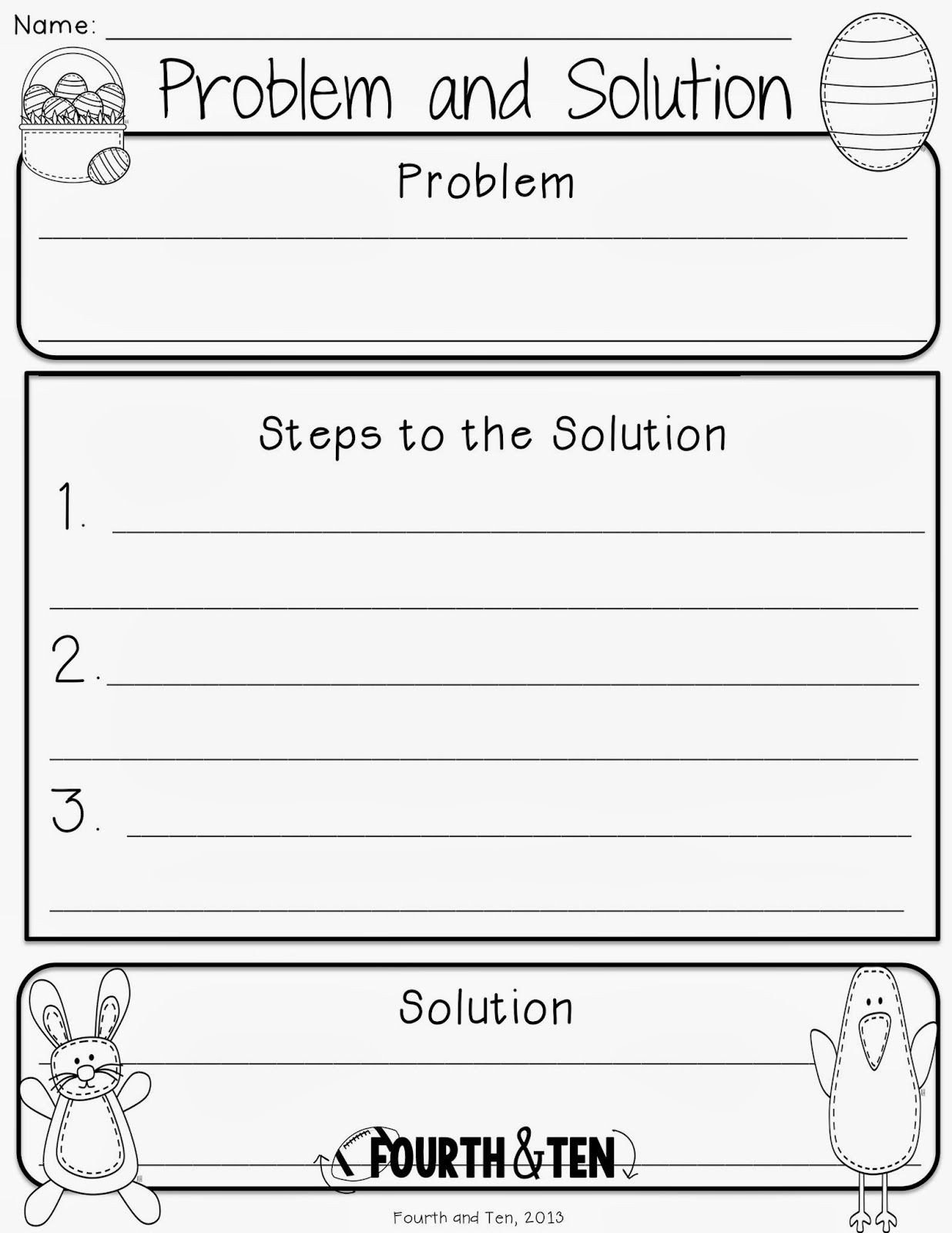 Problem and solution Reading Worksheets Easter Graphic organizers Reading Writing Problem