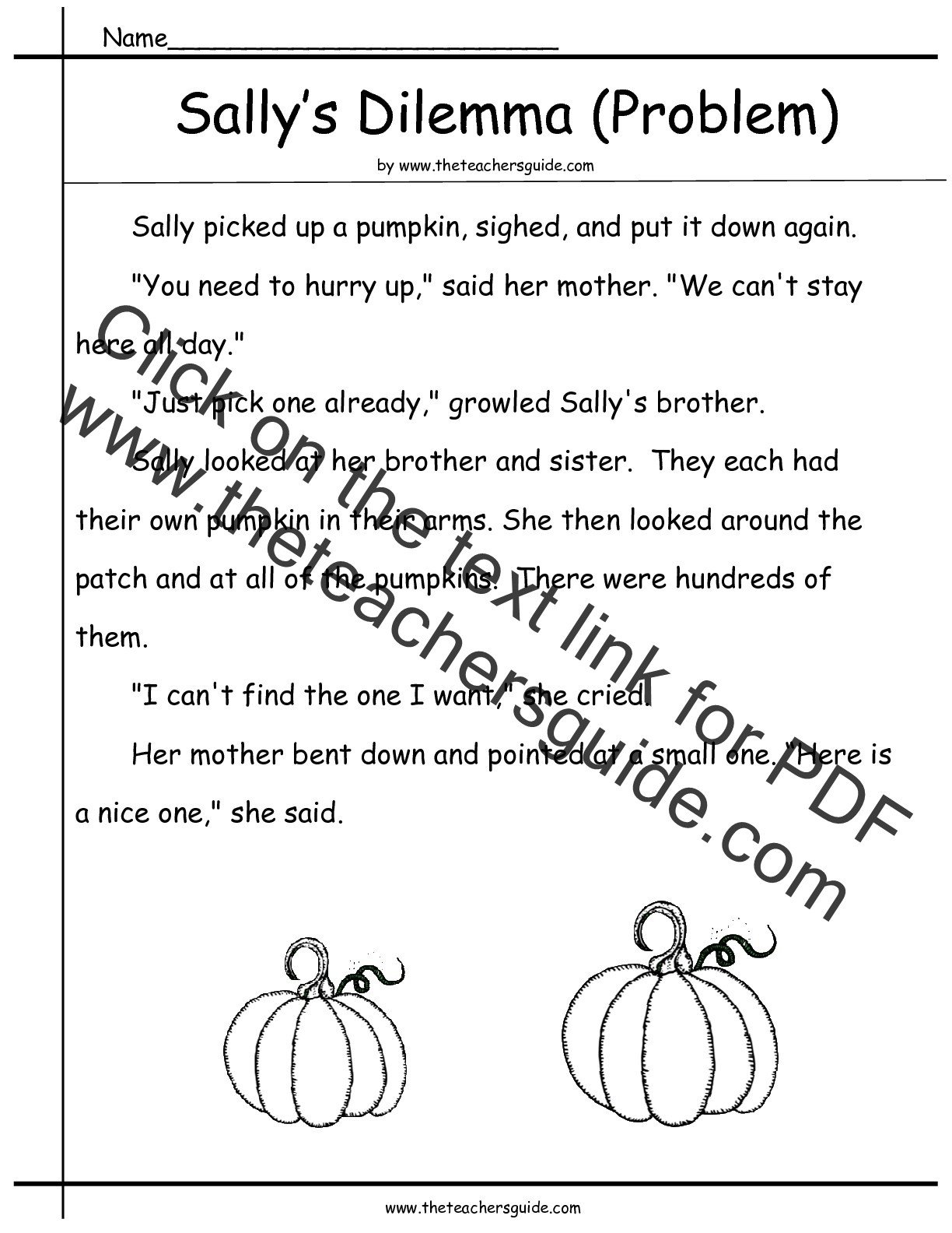 problem and solution reading worksheet 3rd